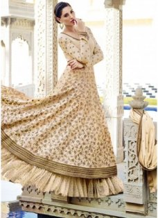 Nargis Golden Cream Flared Anarkali #BridalAnarkaliSuits