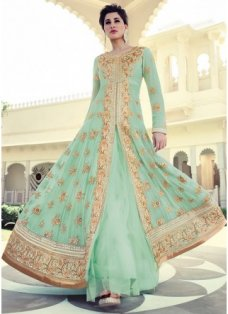 Nargis Sea Green and Gold Embellished Anarkali #BridalAnarkaliSuits