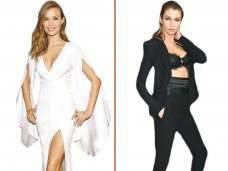 Supermodels Stella Maxwell and Josephine Skriver opted for monochrome ensembles