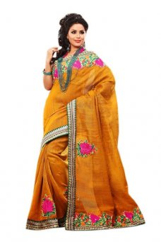 Black Friday special Jute Silk Partywear Embroidered Saree 353a #light_brown | ebay