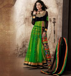 Bollywood Salwar Kameez Indian Net Green and Black Anarkali Salwar Kameez Suits #green | ebay