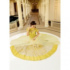 Bright Yellow Double Layered Anarkali #BridalAnarkaliSuits