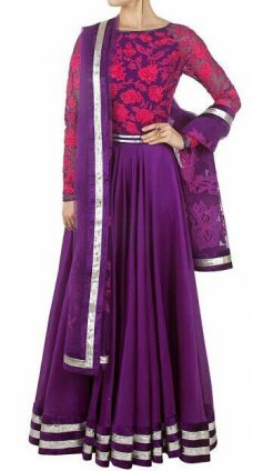 Anarkali Floor Length Gown Indian ethnic Indian Outfits High Fashion Garment Hot #violet | ebay