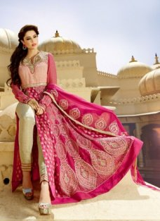 Hot Pink and Gold Pant Style Anarkali #BridalAnarkaliSuits