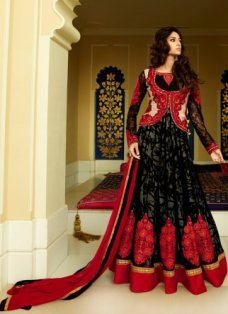 Shaded Black and Red Anarkali #BridalAnarkaliSuits