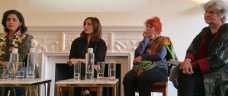 Writer Kamila Shamsie chaired a panel consisting of artists Faiza Butt and Naiza H. #Pakistanis