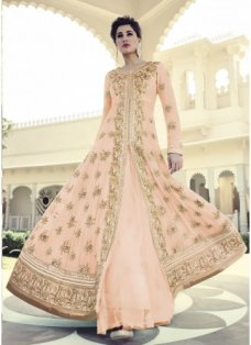 Nargis Peach And Gold Embellished Anarkali #BridalAnarkaliSuits