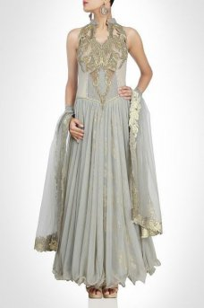 Floor Length Anarkali Indian Designer wear Ethnic Wedding Shaadi Sangeet #taupe | ebay