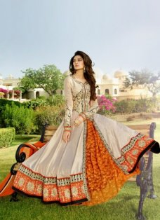 Cream and Orange Embroidered Anarkali Suit #BridalAnarkaliSuits