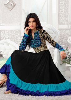 Type Party wear salwar kameez Shipping Available Worldwide Package Details 1 top :: 1 bottom :: 1 dupatta Pattern Embroidered Dupatta fabric : Nazneen Bottom fabric : Santoon Kameez fabric : Georgette Dupatta color : Black Kameez color : Black, Blue . 