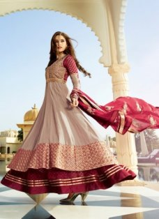Multicolor Maroon Embroidered Anarkali #BridalAnarkaliSuits