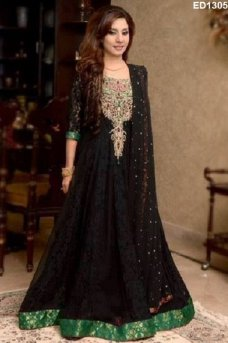 Deepawali Bandhani Designer Anarkali Suit Indian Festival Dresses Bridal Wedding #black | ebay