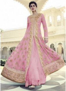Nargis Pink And Gold Embellished Anarkali #BridalAnarkaliSuits