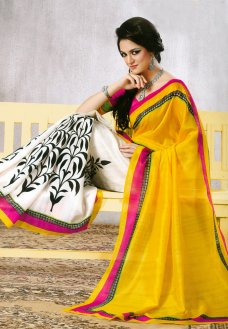 Bright yellow and cream art silk abstract and floral printed saree. As shown fuschia blouse can be made available and also can be customized as per your style or pattern subject to fabric limitation. (Slight variation in color is possible.  #Sari #Yellow #Blouse #Silk #Art #Color #Cream