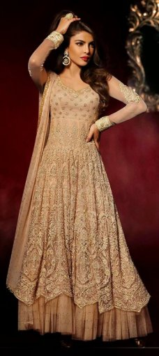 425501, Anarkali Suits, Bollywood Salwar Kameez, Net, Zari, Thread, Lace, Machine Embroidery, Beige and Brown Color Family #BridalAnarkaliSuits