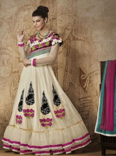 Bollywood Salwar Kameez Suit Exciting Cream Georgette Net Anarkali Salwar Suits #taupe | ebay