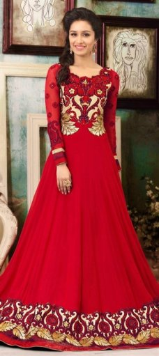 409813 Red and Maroon  color family Bollywood Salwar Kameez in Georgette fabric with Machine Embroidery,Patch,Resham,Thread,Zari work . #BridalAnarkaliSuits