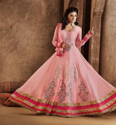 Bollywood Salwar Kameez Suits Indian Net Light Pink Anarkali Salwar Kameez Suits #taupe | ebay